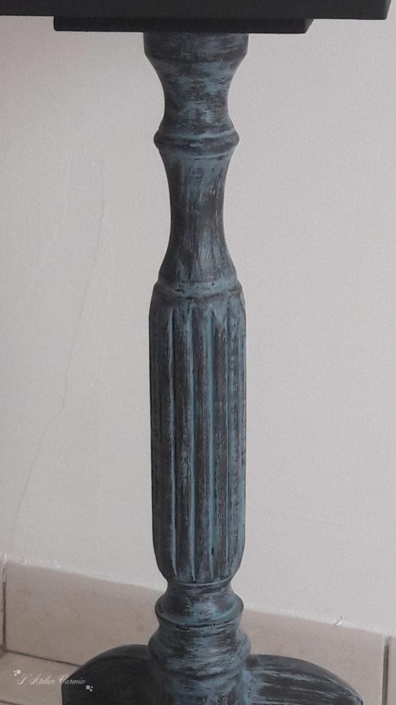 Détail patine bleue